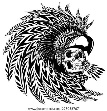 Warrior Headdress Tattoo Tattoo Aztec Warrior Stock