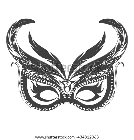 Tattoo carnival mask with feather and lace. Isolated on white. - stock vector