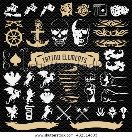 Tattoo elements decorative icons set with edged weapon mythological animals on black textural background isolated vector illustration - stock vector