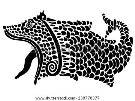 Tattoo fish- dog - stock vector