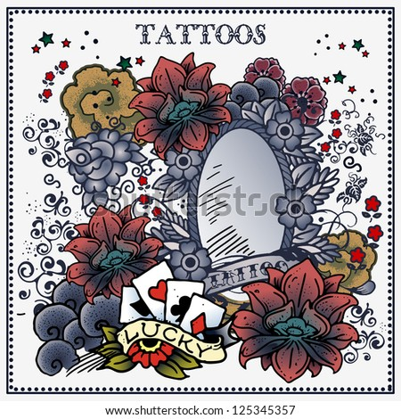 tattoo floral frame - stock vector