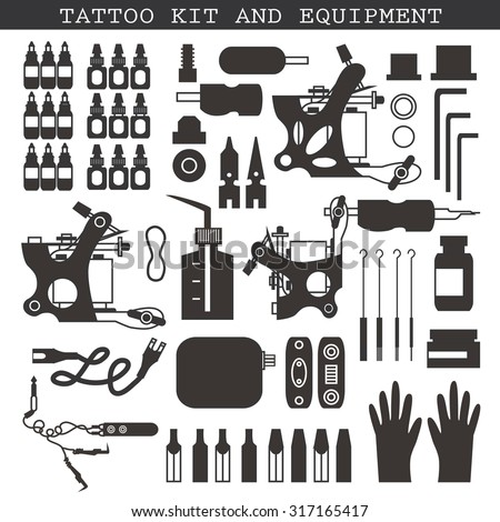 Tattoo kit and equipment. Tattoo machine, power box, clip and pedal, needles, grips and tools - stock vector