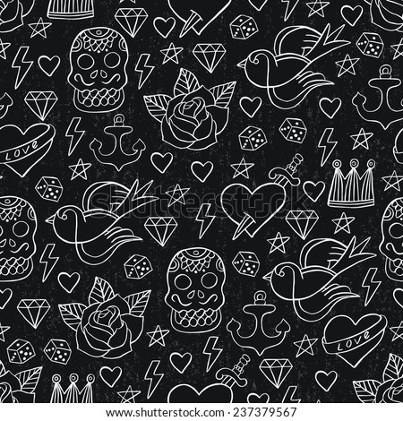 Tattoo seamless pattern. Vector illustration.  - stock vector