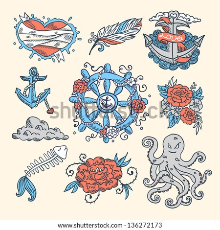 Tattoo Set - stock vector
