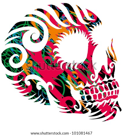 tattoo skull - stock vector