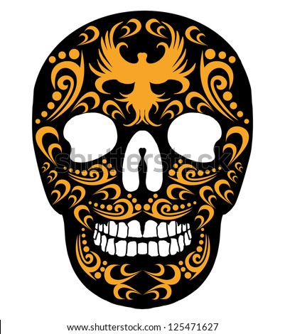 tattoo skull vector art - stock vector