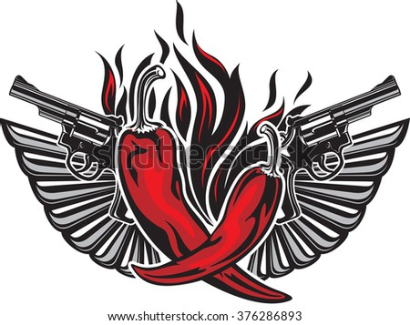 Tattoo style illustration with two red hot peppers, two guns, two wings and fire flame - stock vector