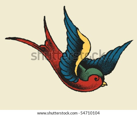 Tattoo Style Swallow - stock vector