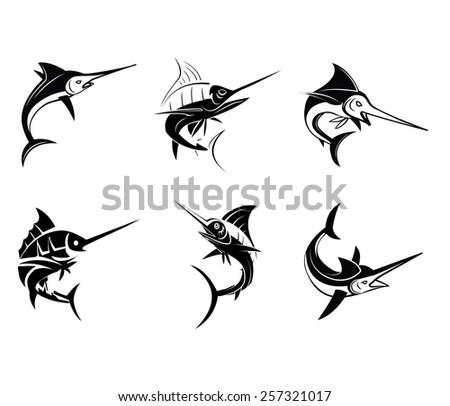 Tattoo Symbol Of Marlin Fish - stock vector