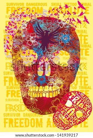 tattoo tribal slogan skull vector art - stock vector