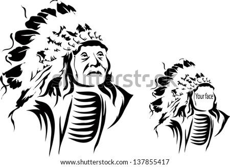 tattoo vector illustration indian man - stock vector