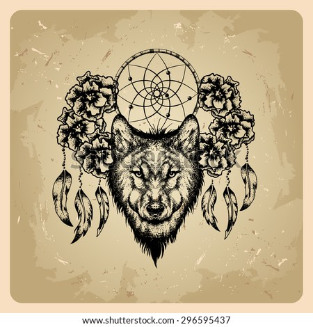 tattoo wolf with flowers and dream catcher - stock vector