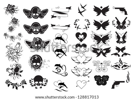 Tattoos - Set - Isolated On White Background - Vector Illustration, Graphic Design Useful For Your Design. Logo Tattoo - stock vector