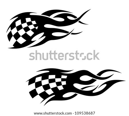 Tattoos with checkered flag in tribal style, such a logo. Jpeg version ...