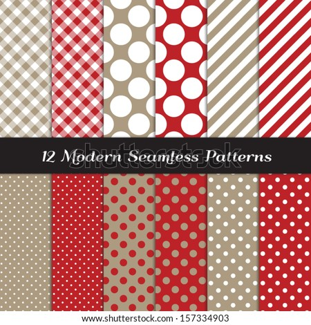 Taupe and Red Jumbo Polka Dots, Gingham and Stripes Seamless Patterns. Sock Monkey Style Background. Pattern Swatches included and made with Global Colors. - stock vector