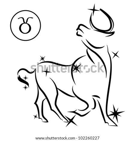 Taurus/Lovely zodiac sign silhouette formed by stars isolated on white, layered eps10 format available - stock vector