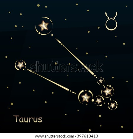 Taurus on a dark blue background, surrounded by stars. Constellation connected lines and decor. - stock vector