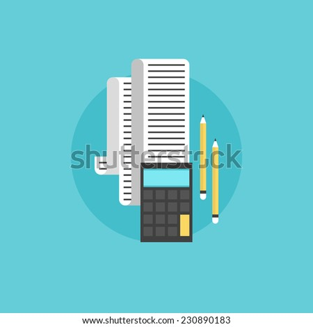 Tax accounting, market statistics and audit process difficult calculation annually. Flat icon modern design style vector illustration concept. - stock vector