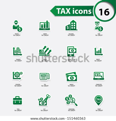 Tax and finance icons,green version,vector - stock vector