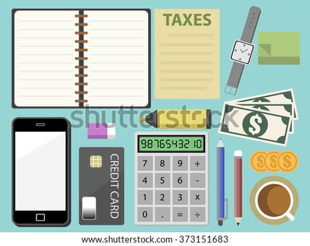 TAX calculator machine and office element in top view. Flat design for business financial marketing banking advertisement office people life property stock fund in minimal concept cartoon illustration - stock vector