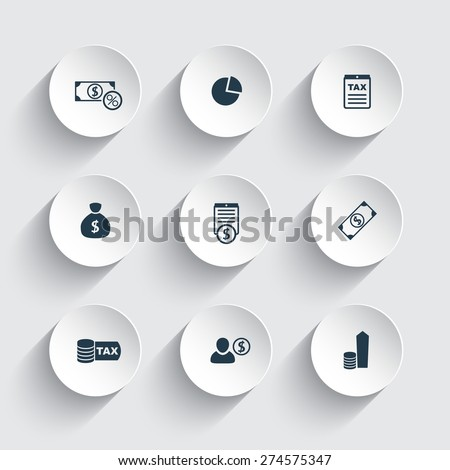 tax, finance, money, income round 3d icons, vector illustration - stock vector