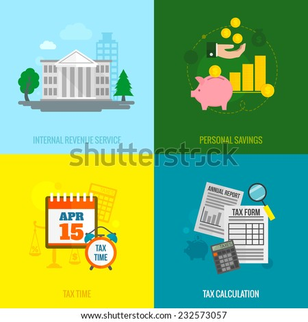 Tax flat icons set with internal revenue service personal savings time calculation isolated vector illustration - stock vector