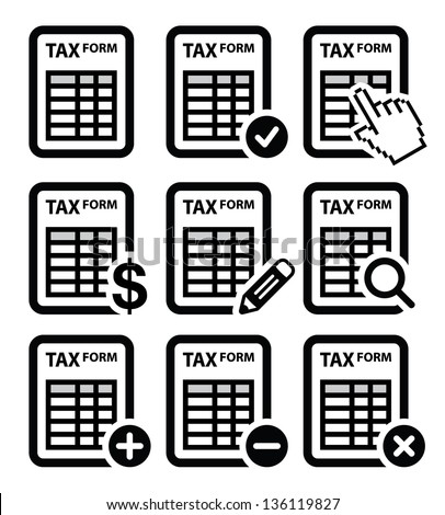 Tax form, taxation, finance vector icons set - stock vector