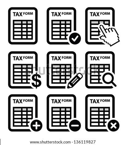 Tax form, taxation, finance vector icons set - stock vector