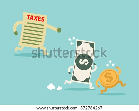 TAX hunting grabbing money. Flat design for business financial marketing banking advertisement office people life property stock fund in minimal concept cartoon illustration. - stock vector