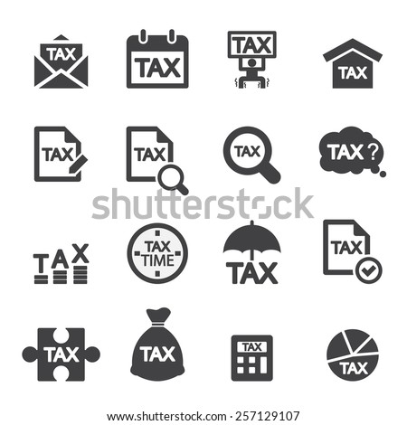 tax icon set - stock vector