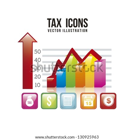 tax illustration with graphic bar over white background. vector - stock vector