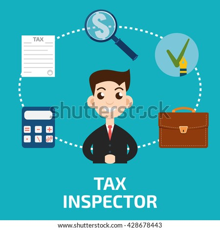 Tax inspector icon flat style - stock vector