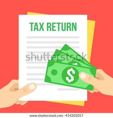 Tax return flat illustration. Hand holds Tax return form and hand giving money. Vector illustration isolated on red background - stock vector