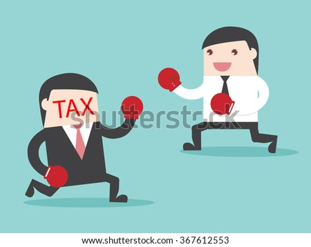 TAX vs Businessman. businessman fight with TAX. Flat design for business financial marketing banking advertisement office people property in minimal concept cartoon illustration. - stock vector