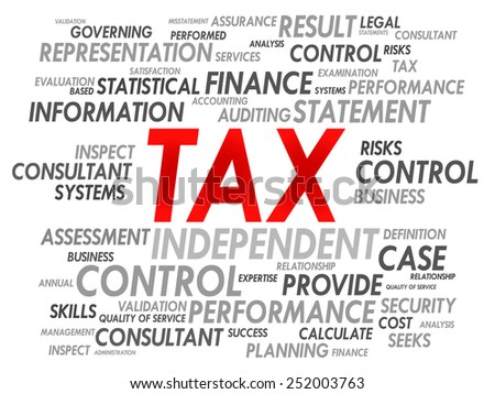 TAX word cloud, business concept - stock vector