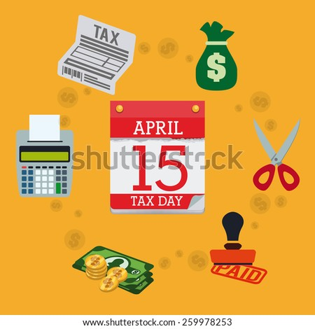 Taxes design over yellow background, vector illustration. - stock vector