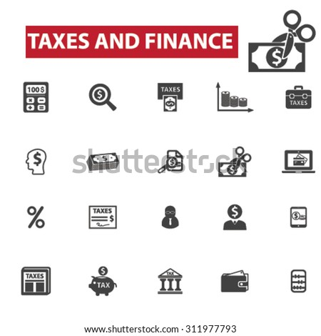 Taxes, finance concept icons: accounting,  money,  tax forms,  taxi,  taxation,  tax return,  accountant,  calculator,  finance. Vector illustration - stock vector