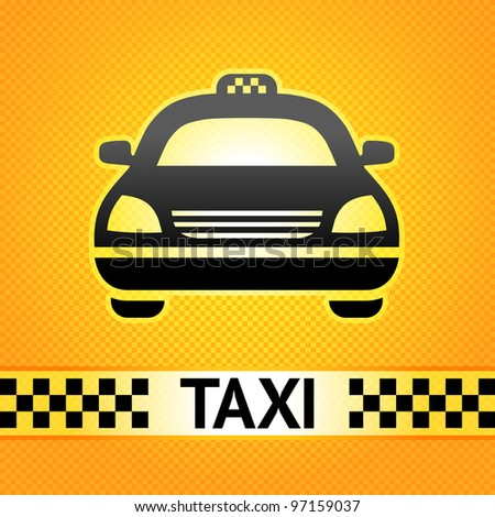 Taxi cab symbol on background pixel pattern - stock vector