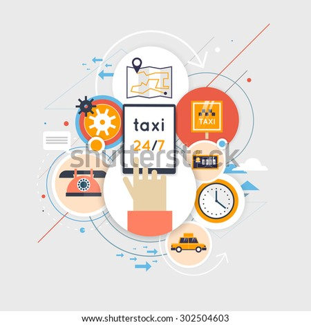 Taxi call. Taxi service concept. Booking, payment. Set of flat icons. Flat design vector illustration. - stock vector
