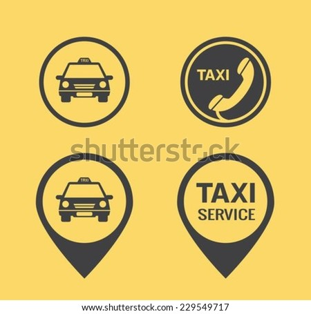 Taxi icons and Pointers - stock vector