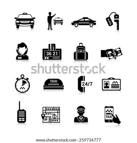 Taxi icons black set with luggage order driver license isolated vector illustration - stock vector