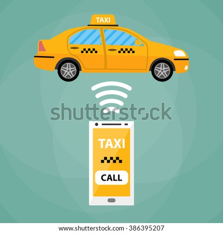 Taxi mobile app concept. White Smartphone with mobile app and yellow taxi car. Taxi for smartphone. Call taxi. Taxi car. Vector illustration in simple flat design on green background - stock vector