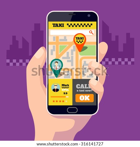Taxi mobile app. Vector flat illustration - stock vector