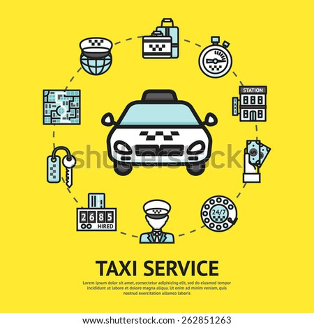 Taxi service concept with car driver and transportation decorative icons vector illustration - stock vector