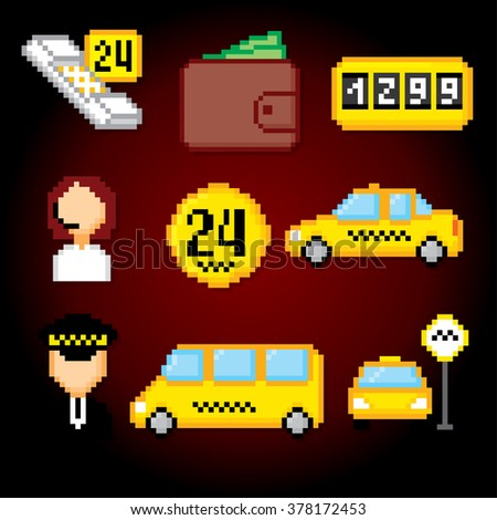 Taxi service set.Taxi icons. Taxi signs and symbols. Taxi pixels. Pixel art. Old school computer graphic style. - stock vector