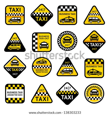Taxi set labels, vector illustration 10eps - stock vector