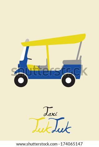 taxi tuk tuk - stock vector
