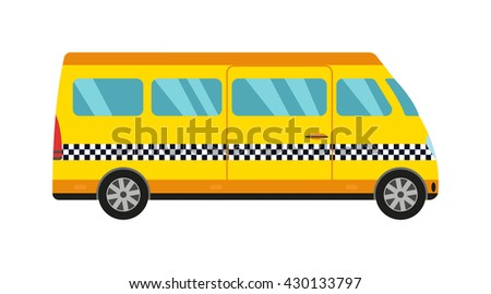 Taxi yellow bus car isolated on white background. Vector yellow taxi bus van and cab transport traffic urban yellow taxi. Road street service yellow taxi bus car isolated, Van truck taxi bus - stock vector