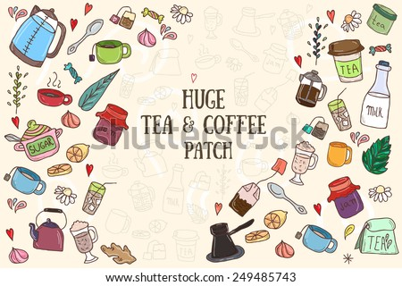 Tea and all stuff - Hand-drawn seamless colorful vector  - stock vector