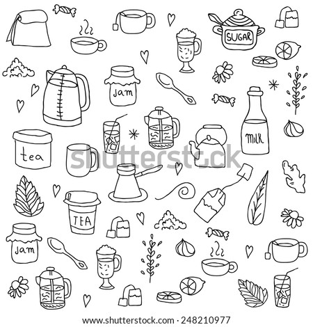 Tea and all stuff - Hand-drawn seamless vector pattern - stock vector